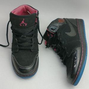 Nike Air Jordan 1 Black/Spark Blue/Pink 5.5Y/7.5W